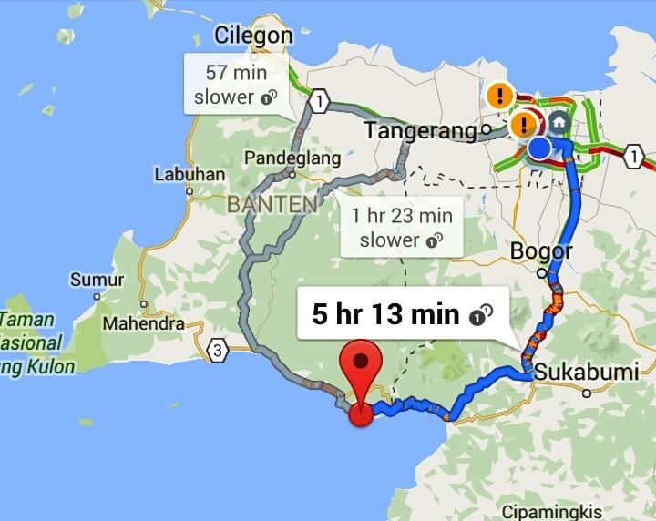 Jalur biru dari Jakarta menuju Bogor-Sukabumi-Pelabuhan Ratu-Sawarna. Jalur abu-abu dari Jakarta ambil jalur ke Tangerang via Tol Merak