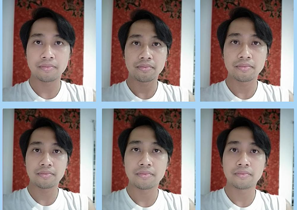 Ini adalah hasil selfie dengan memanfaatkan berbagai tingkatan beauty.